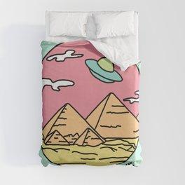 Ancient Aliens Pyramids Funny UFO Eyptian 90s Print Duvet Cover