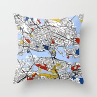 stockholm Throw Pillows featuring Stockholm by Mondrian Maps