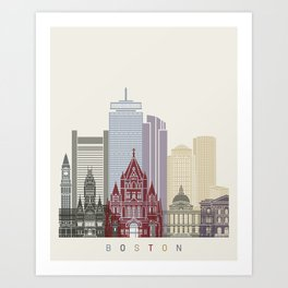 Boston skyline poster Art Print