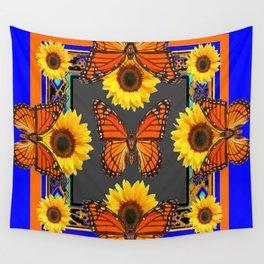 Cobalt Blue & Orange Monarch Butterflies Sunflower Patterns Art Wall Tapestry