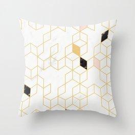 Keziah - Gold & Marble Throw Pillow