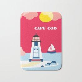 Cape Cod, Massachusetts - Skyline Illustration by Loose Petals Bath Mat