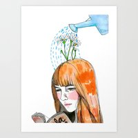 reading Art Prints featuring Reading by Andrea Méndez
