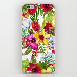 Pink red yellow tropical hand painted watercolor floral iPhone Skin