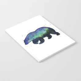Polar Bear Silhouette with Northern Lights Galaxy Notebook