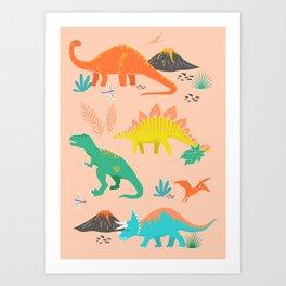 Jurassic Dinosaurs on Peach Art Print