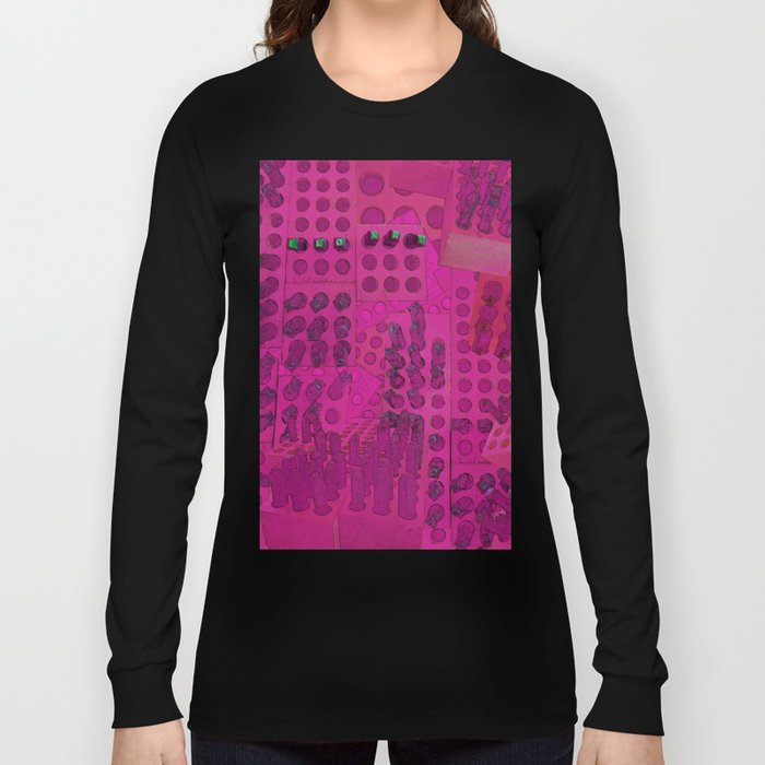 I Love You Letter Punches Abstract Pink Long Sleeve T-shirt