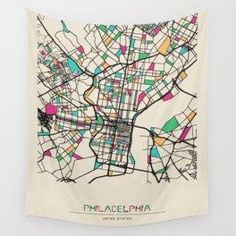 Colorful City Maps: Philadelphia, Pennsylvania Wall Tapestry