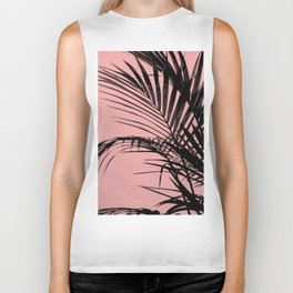 Palm leaves paradise with peach Biker Tank