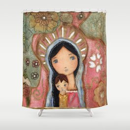 Madonna of the Flowers by Flor Larios Shower Curtain