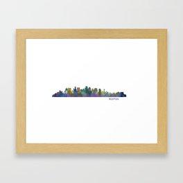 Boston Massachusetts City Skyline Hq V1 Framed Art Print