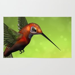 Colorful Hummingbird & Green Unfocused Background Rug