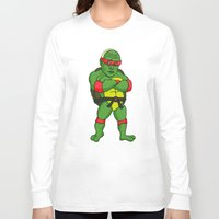 putin Long Sleeve T-shirts featuring Teenage Putin Ninja Turtle by Chris Piascik