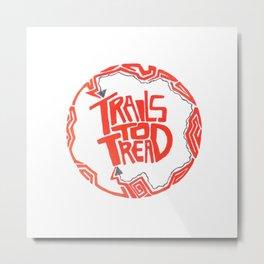 Geo print trails to tread patch Metal Print