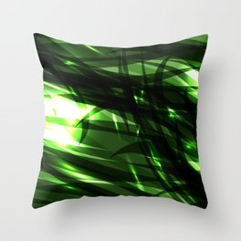 Green and smooth sparkling lines of grass on the theme of space and abstraction. Throw Pillow
