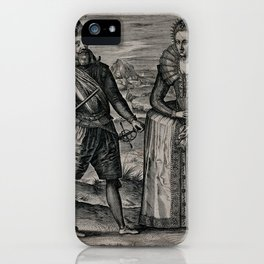 King James I of England and VI of Scotland, and his consort Anne of Denmark, in a landscape. Engravi iPhone Case