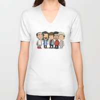 1d V-neck T-shirts featuring Schulz 1D by Ashley R. Guillory