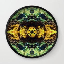 Mossy Robot Pattern - Mirrored Willow Bark Wall Clock