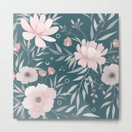 Floral Prints, Art for Wall, Prints Green and Pink Teal Metal Print