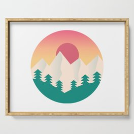 Nature artwork with gradient sunset Serving Tray