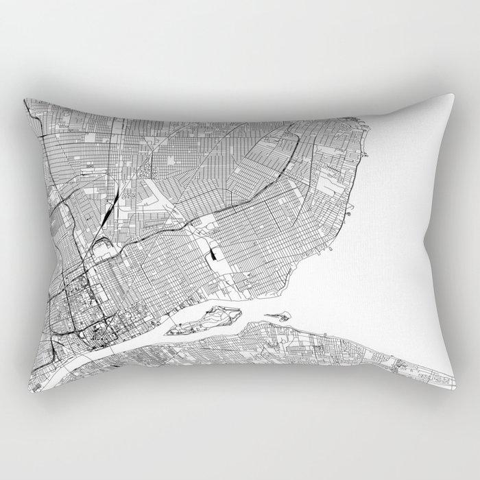 Detroit White Map Rectangular Pillow