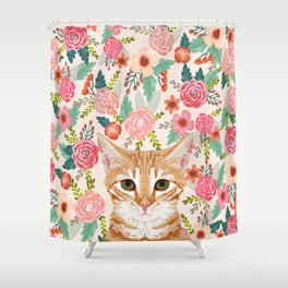 Orange Tabby floral cat head cute pet portrait gifts for orange tabby cat must haves Shower Curtain