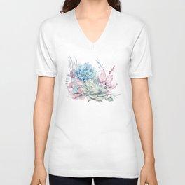 Pretty Pastel Succulents Unisex V-Neck