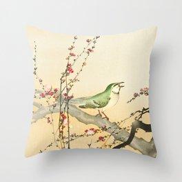 Songbird on peach tree - Vintage Japanese Woodblock Print Art Throw Pillow