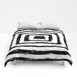 Minimal Black and White Square Rectangle Pattern Comforters