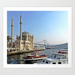 Mosque and Bridge, Istanbul Turkey Art Print