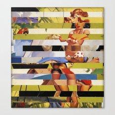 Glitch Pin-Up Redux: Farrah Canvas Print