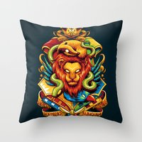 harry potter Throw Pillows featuring Harry Potter : Hogwarts Houses by anggatantama