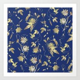 Elegant Gold Blue Passiflora Pattern Art Print