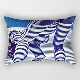 9244-KMA_5206 Sexy Blue Striped Nude Bending Down Looking Back Rectangular Pillow