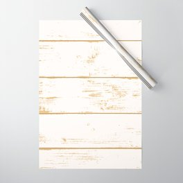 Rustic wooden texture. White and gold antique wood. Wrapping Paper