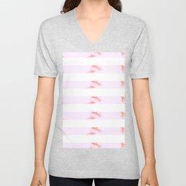 Pink Marble Stripes Unisex V-Neck