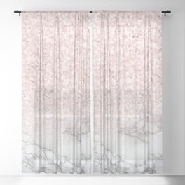 Pretty Rosegold Marble Sparkle Sheer Curtain
