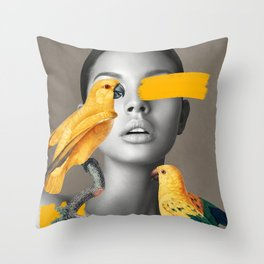 Girl with Parrots Throw Pillow