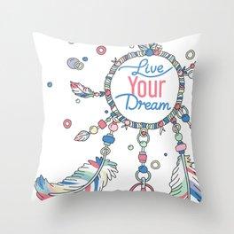 Live Your Dream Dream Catcher - Pastel Colors Throw Pillow