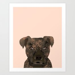Pitbull brindle coat dog portrait cute gifts for dog lover with pitbulls Art Print