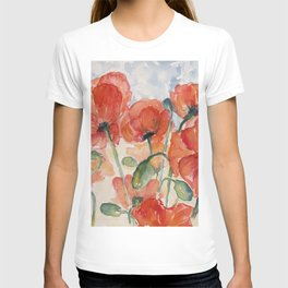 Burnt Orange Salmon Field of Poppies watercolour by CheyAnne Sexton T-shirt