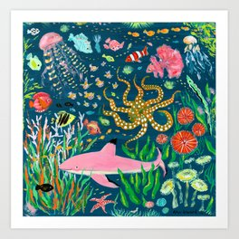 Pink Shark Art Print