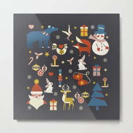 Christmas symbols pattern Metal Print