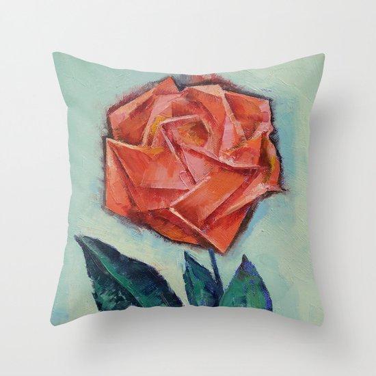 Origami Rose Throw Pillow