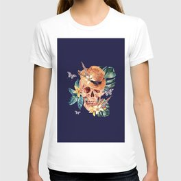 Tropical Latin Skull With Straw Hat Monstera Leaves South American Floral Kingdom T-shirt