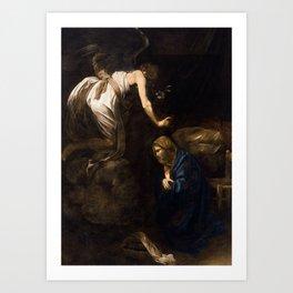 Annunciation by Caravaggio (1608) Art Print