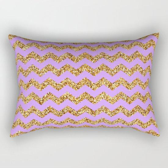 Purple Gold Glitter Chevron Rectangular Pillow