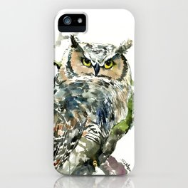 Great Horned Owl in Woods iPhone Case