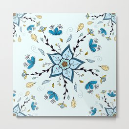 Mandala Autumn  Blue feather By Sonia H. Metal Print
