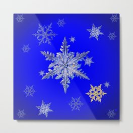 """MORE SNOW"" BLUE WINTER ART DESIGN Metal Print"